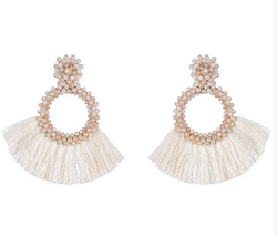 Kamilah Earrings, Cream