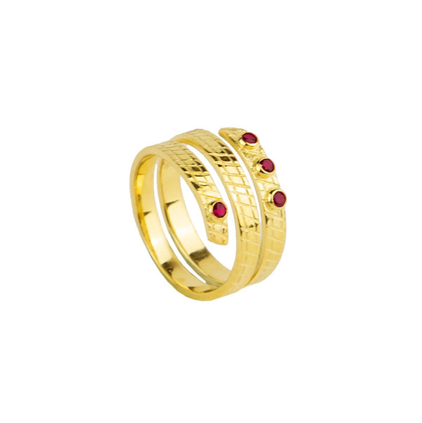 Cedella Ring, Gold/Red Gem