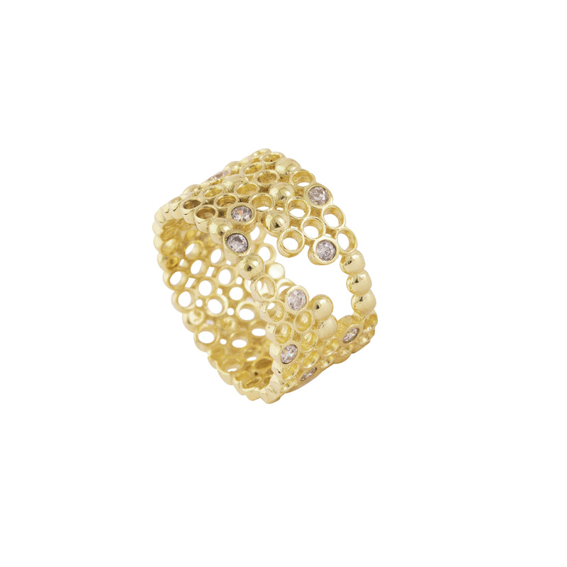 Blisan Ring, Gold/Clear Gem