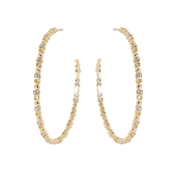 Brioni Earrings, Gold/Clear