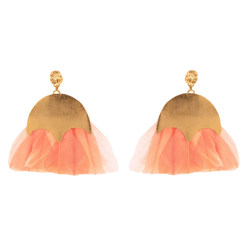 Vanessa Earrings, Coral/Gold