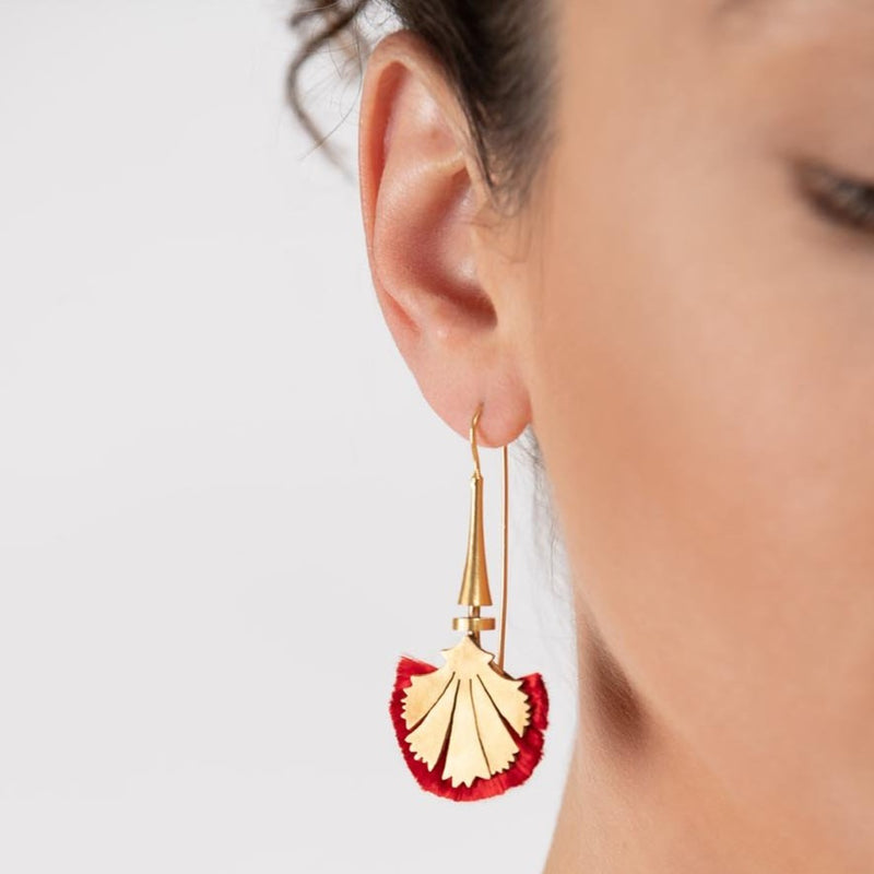 Mia Earring, Gold/Red