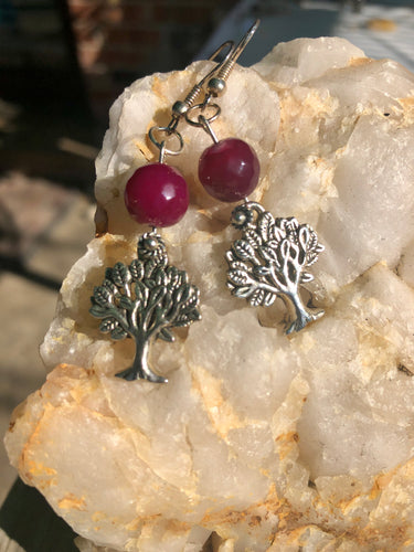 Tree Of Life Earrings with Pink Agate