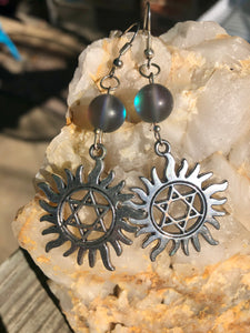 Star of David Earrings with Blue Mystic Quartz