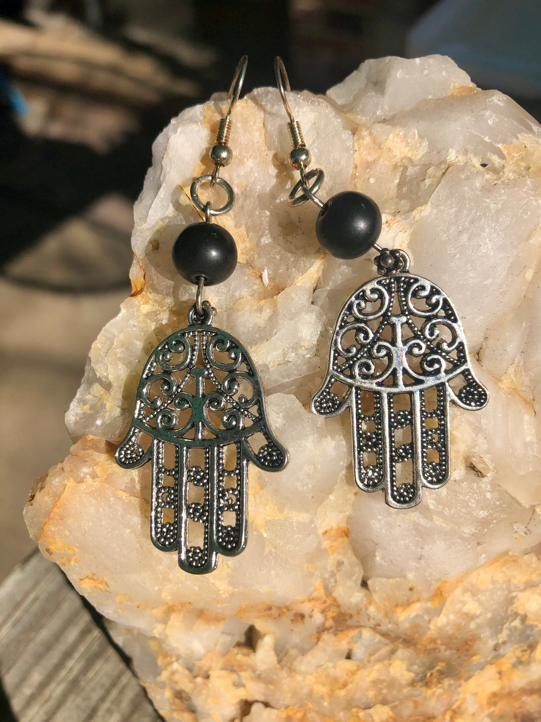 Shungite Hamsa Hand Earrings