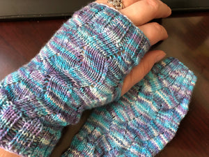 Rebel Purl knit into fingerless mitts