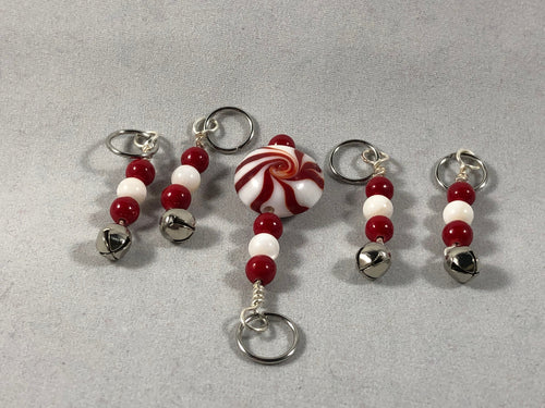 Peppermint Bells Stitch Markers