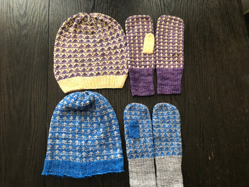 Little Trees Hat & Mitts Set Pattern - digital download
