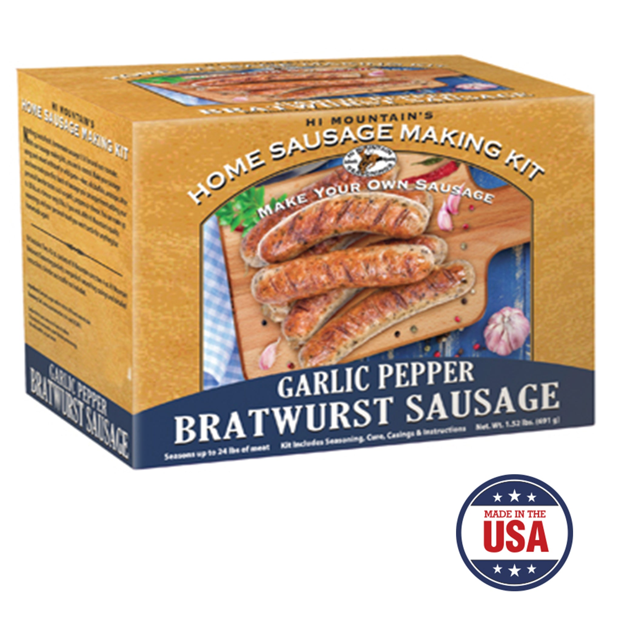 Garlic Pepper Bratwurst Making Kit