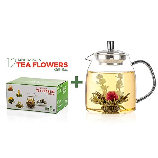 Glass Blooming Teapot Gift Set