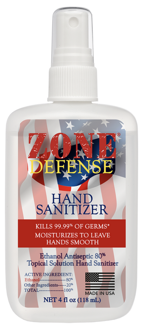 Zone Defense Hand Sanitizer 4oz. Mist Spray Bottle