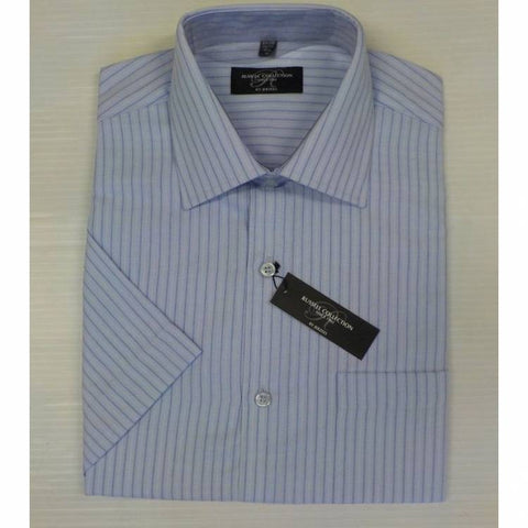 Russell Collection 943M Short sleeve, Stripe Shirt Light Blue c/w Navy/White pin stripe