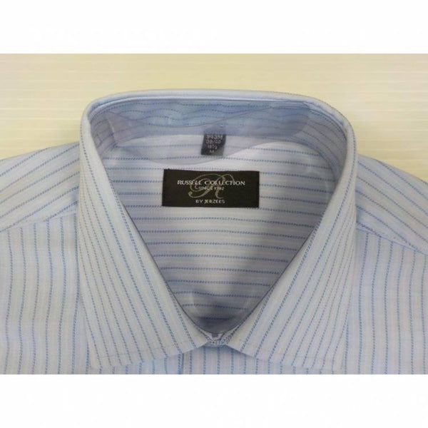 Russell Collection 942M Long sleeve, Stripe Shirt Light Blue c/w Navy/White pin stripe