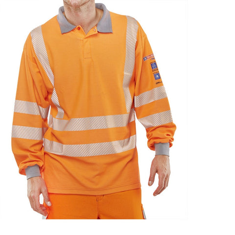 ARC Compliant Flame Retardant Hi-Vis Orange Polo
