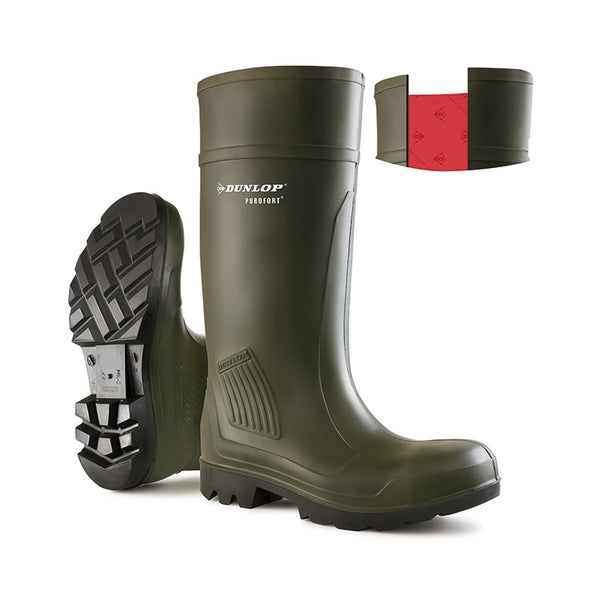 Purofort Full Safety Wellies Green