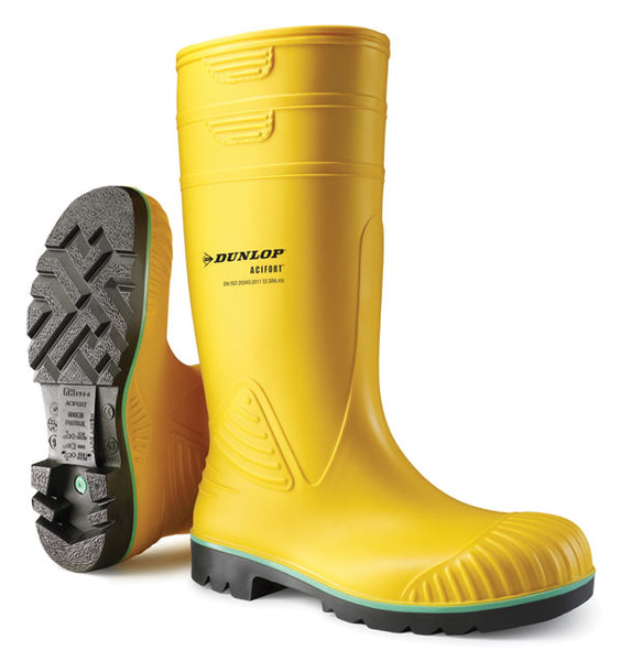Dunlop Acifort Heavy Duty Wellies Yellow