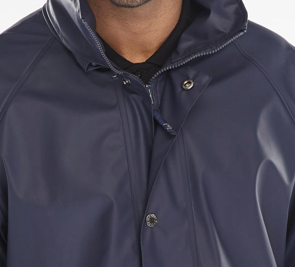 Brecon - Navy Blue Breathable Fabric Zip to neck & stud fly front coat
