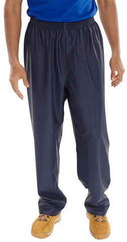 Brecon - Navy Blue PU Coated Polyester Fabric Trousers