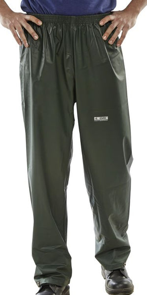 Brecon - Olive Green PU Coated Polyester Fabric Trousers