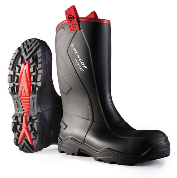Dunlop Purofort + Rugged Full Safety Black Wellies
