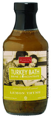 Lemon Thyme Turkey Bath Brine makes Thanksgiving Turkey perfectly juicy and delicious.  Gluten Free.  Great on Pork and Seafood as well.