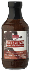 Butt & Rib Bath Brine concentrate for award winning pork butt, loin, and ribs.  Gluten Free, Fat Free, and easy to use.