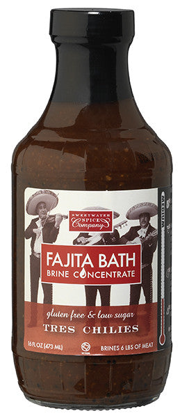 Tres Chilies Fajita Bath Brine is built for Fajitas.  Fat free, low sugar, and faster and more effective than marinades.