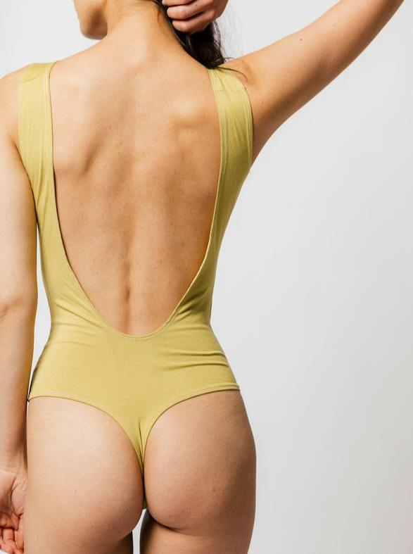Backless Bodysuit in Matcha - The Lake