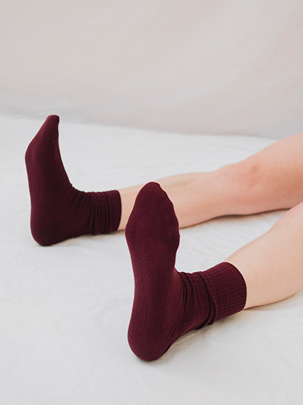 Cherry Ribbed Cotton Socks - The Lake