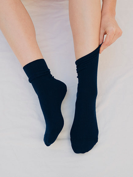 Midnight Blue Ribbed Cotton Socks - The Lake