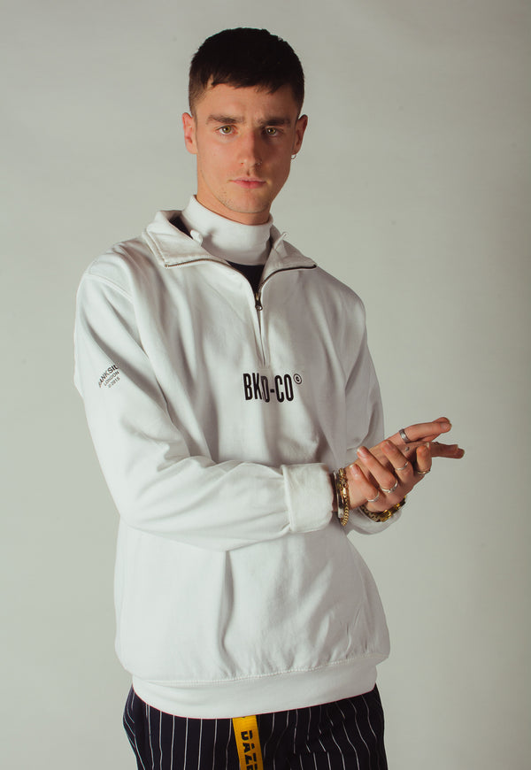 White 1/4 Zip Sweatshirt