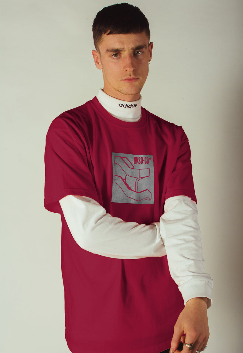 Reflective Staircase T-shirt Burgundy