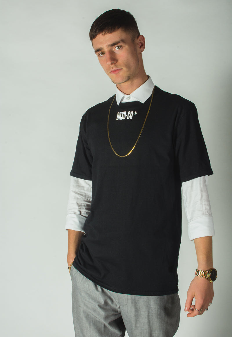 Black Bankside Co T-shirt with BKSD print in white just below collar