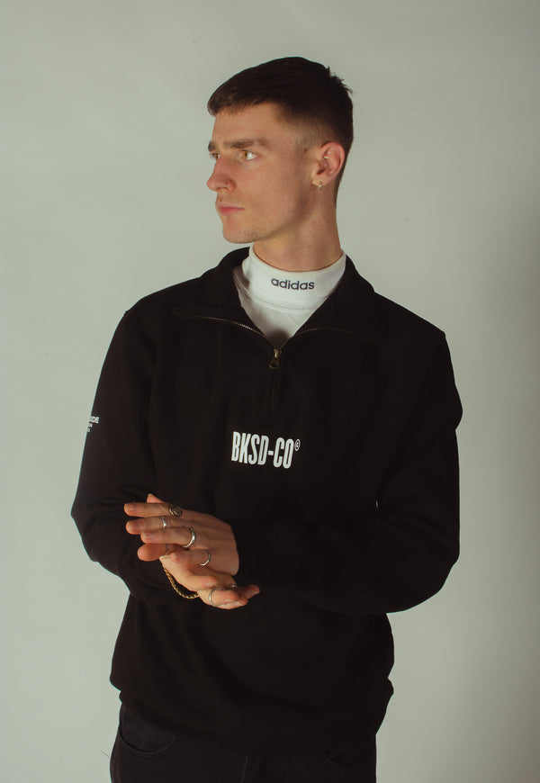 Black Bankside 1/4 Zip Sweatshirt styled with white t-shirt