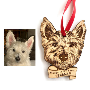 Custom Pet Ornament, Dog Portrait Ornament, Custom Wood Christmas Ornament, Christmas Gift Pet Owner, Pet Ornament Wood