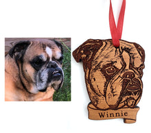 Load image into Gallery viewer, Custom Pet Ornament, Dog Portrait Ornament, Custom Wood Christmas Ornament, Christmas Gift Pet Owner, Pet Ornament Wood