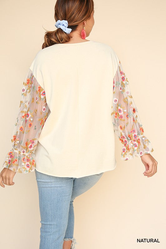 PLUS Sheer Florals Top