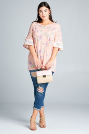 Plus Size Printed Bell Sleeve Top with Trim Detail
