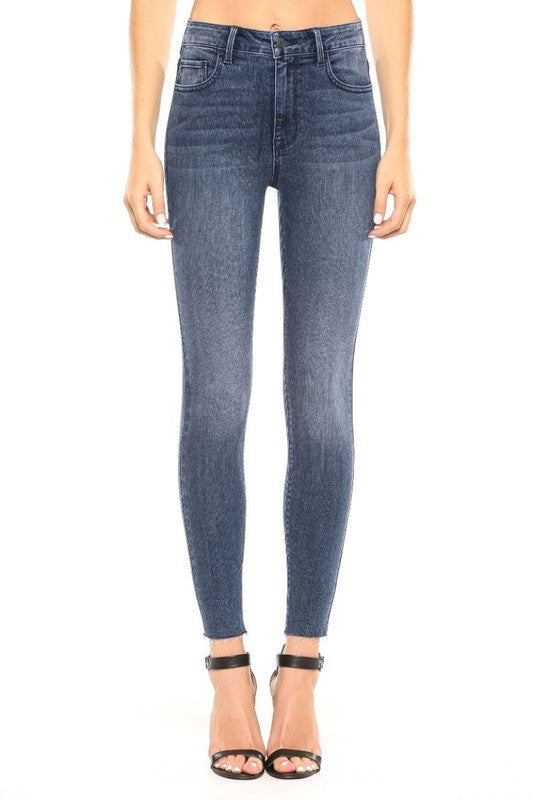 Basic High Rise Straight Cut Skinny Jean ~Dark Blue~