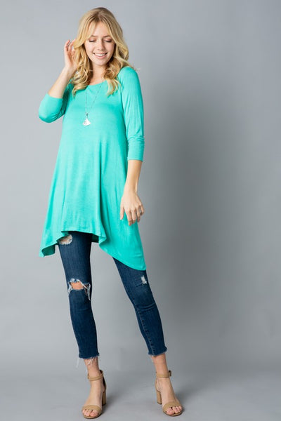 Plus Size Solid Trapeze Knit Dress/Top With Pocket