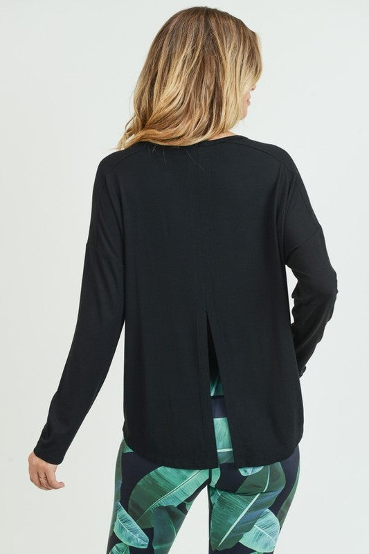 Long Sleeve Tie Back Athleisure Top