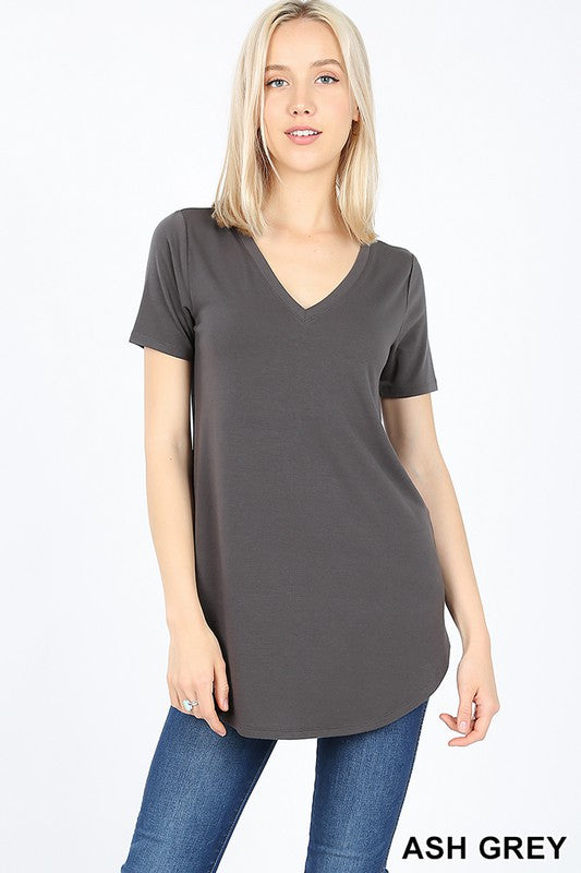 Basic V-Neck Round Hem Top