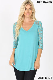 Luxe Lace V-Neck Top ~Ash Mint~