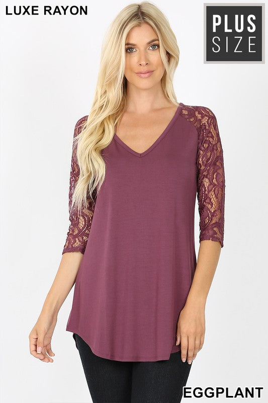 Plus Size Lux Lace Top ~Eggplant~