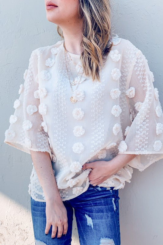 Cotton Candy Sheer 3D Flower Blouse ~Ivory~