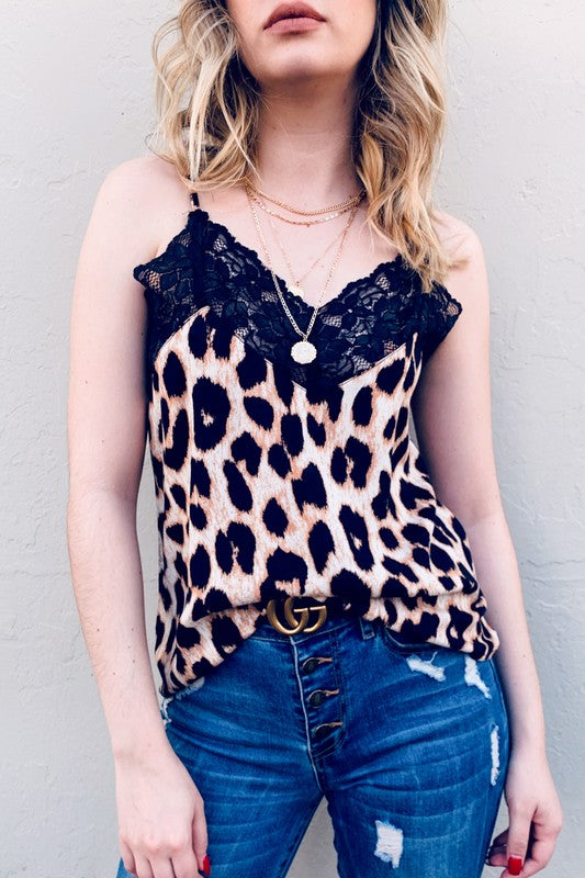 Leopard Print With Laec Cami Tank Top