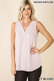 Airy V-Neck Sleeveless Blouse
