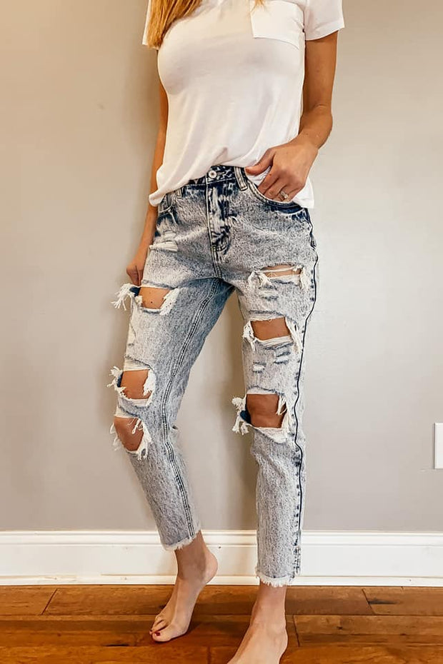 Sky High Rise Distressed Boyfriend Jeans