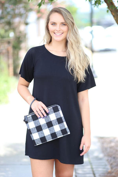 Waverly Plaid Clutch Wristlet ~ Black/White~