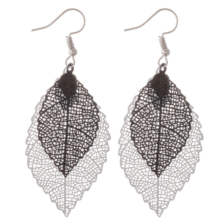 Two Tone Leaf Earring